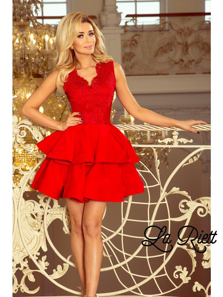 c52160e33767 Exkluzívne šaty s A-čkovou suknou červené 200-4 - www.sonya.sk