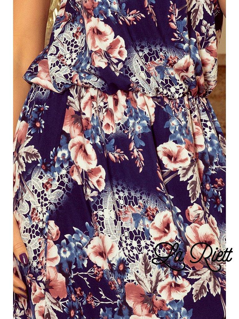 Kvetované šaty s viazaním na krku - tmavomodrá 191-2 - www.sonya.sk db0118be447