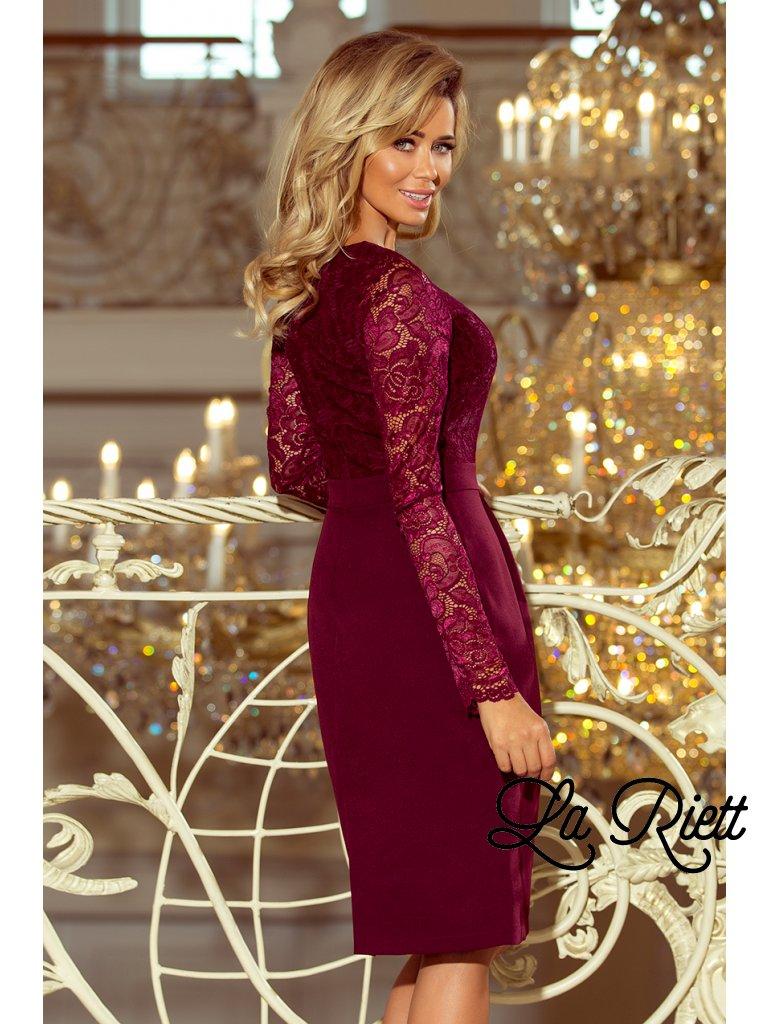 5de618d6a942 Dámske elegantné šaty s čipkou vínové 216-3 - www.sonya.sk