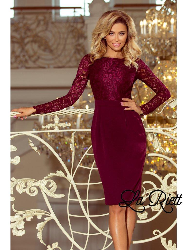 6224dc9e2e78 Dámske elegantné šaty s čipkou vínové 216-3 - www.sonya.sk