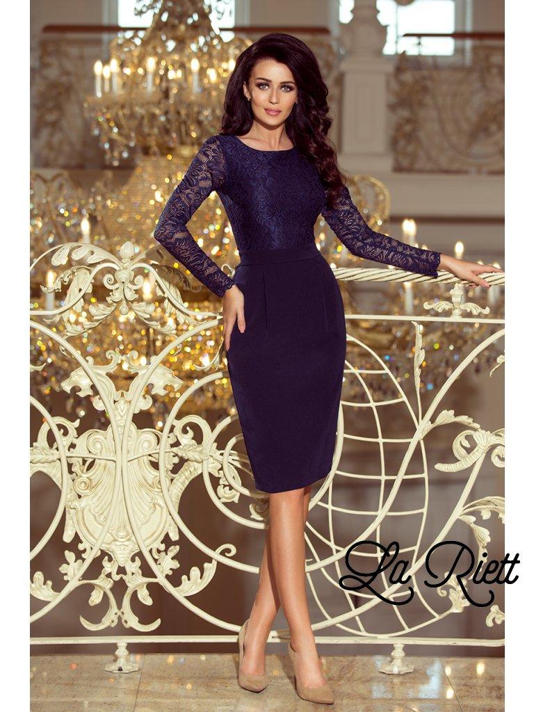 d20965dda930 Dámske elegantné šaty s čipkou tmavomodré 216-1 - www.sonya.sk
