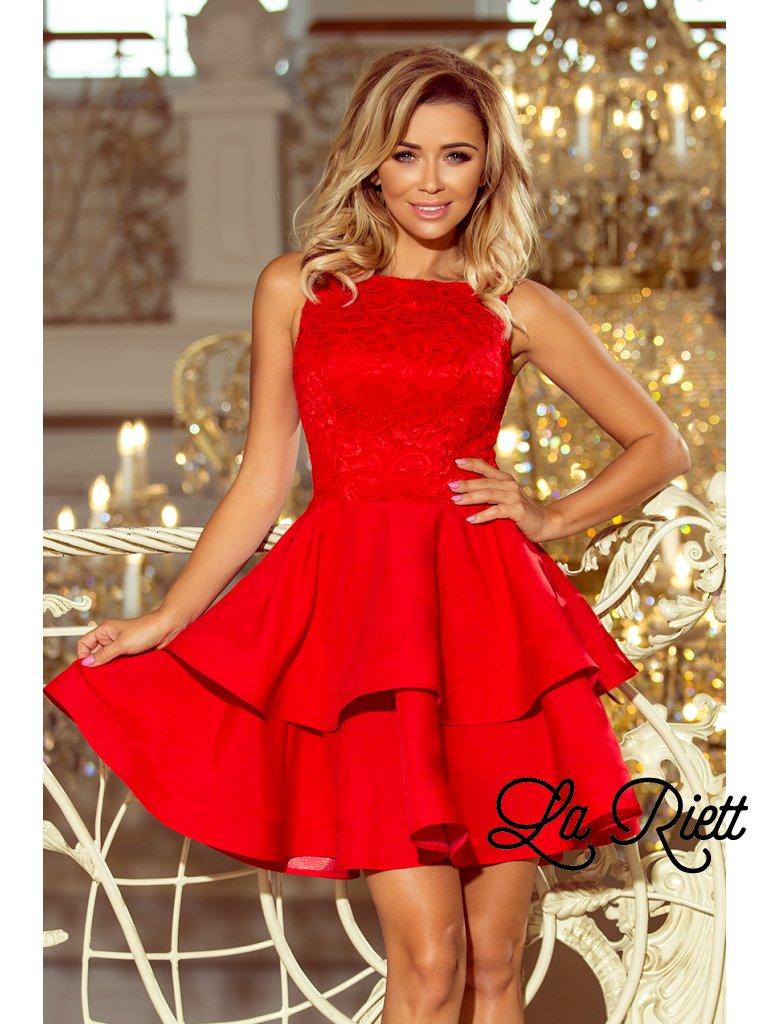 Koktejlové šaty s čipkou červené 205-1 - www.sonya.sk fae5b9270e7