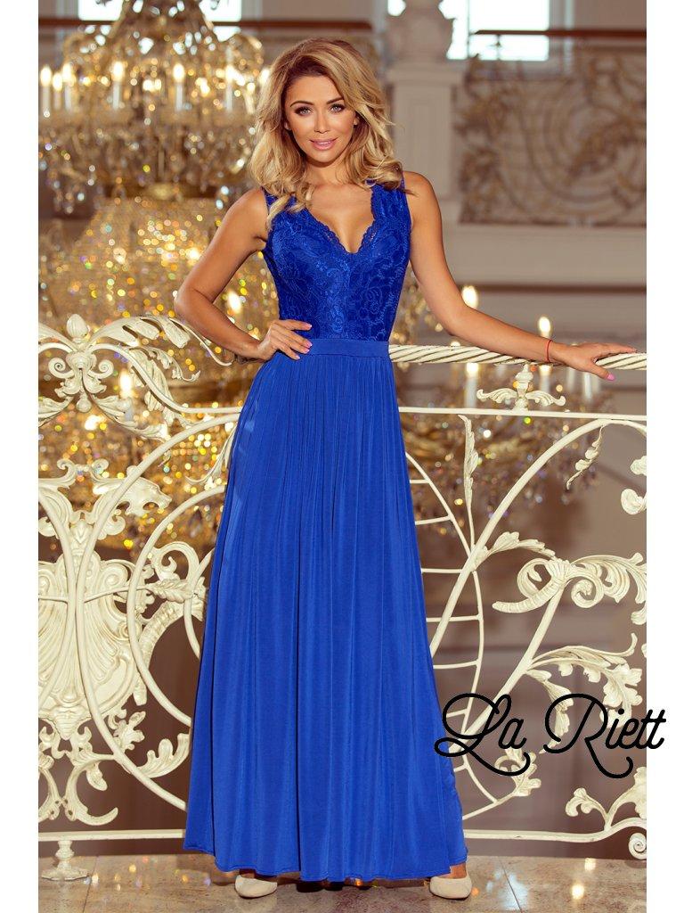 7c9b5500827e Dlhé čipkované šaty modré 211-3 - www.sonya.sk