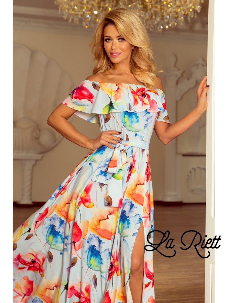 38e32b8e28cb ... Kvetované dlhé šaty s hispánskym výstrihom - farebné kvety 194-1 ...