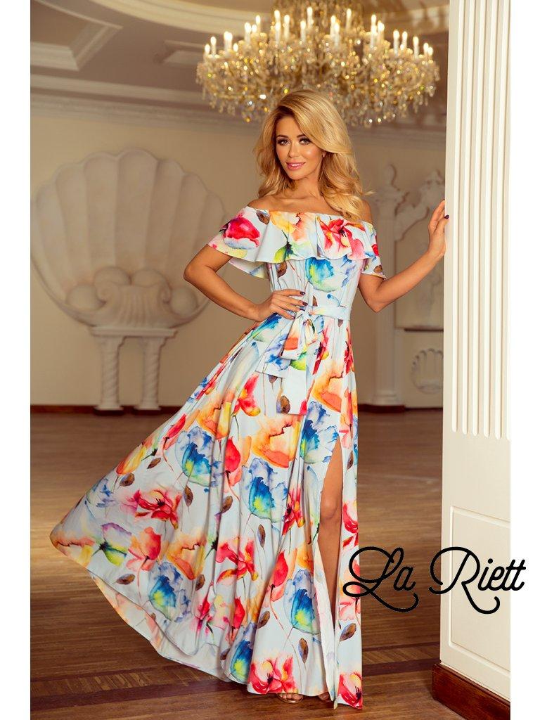 60ac4ae23445 Kvetované dlhé šaty s hispánskym výstrihom - farebné kvety 194-1 ...