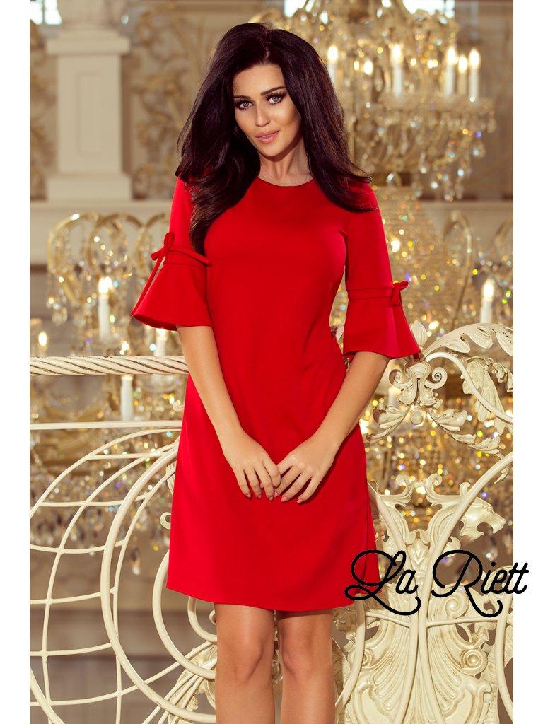 Červené šaty s volánmi na rukávoch 217-1 - www.sonya.sk 2a93e2a2170