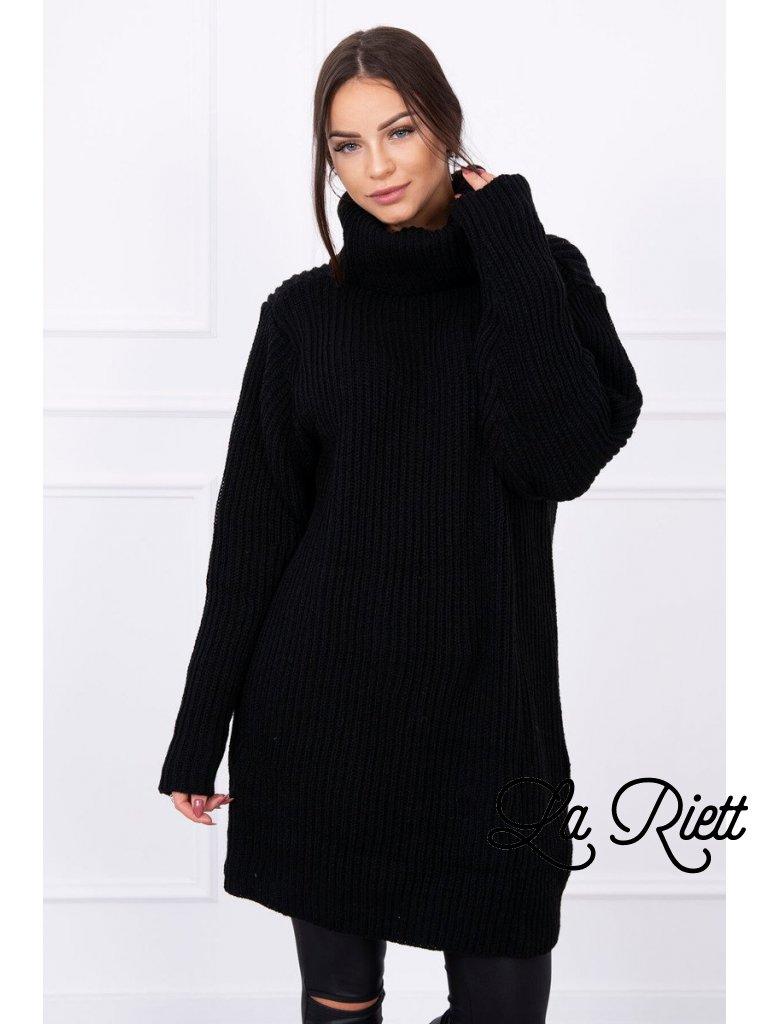 cefd00b184c Oversize pletené rolákové šaty pulover čierny - www.sonya.sk