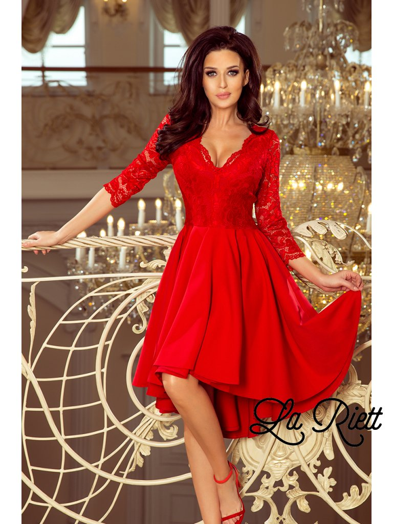 5d3c6a3dfc88 Šaty s krajkovými rukávmi červené 210-6 - www.sonya.sk
