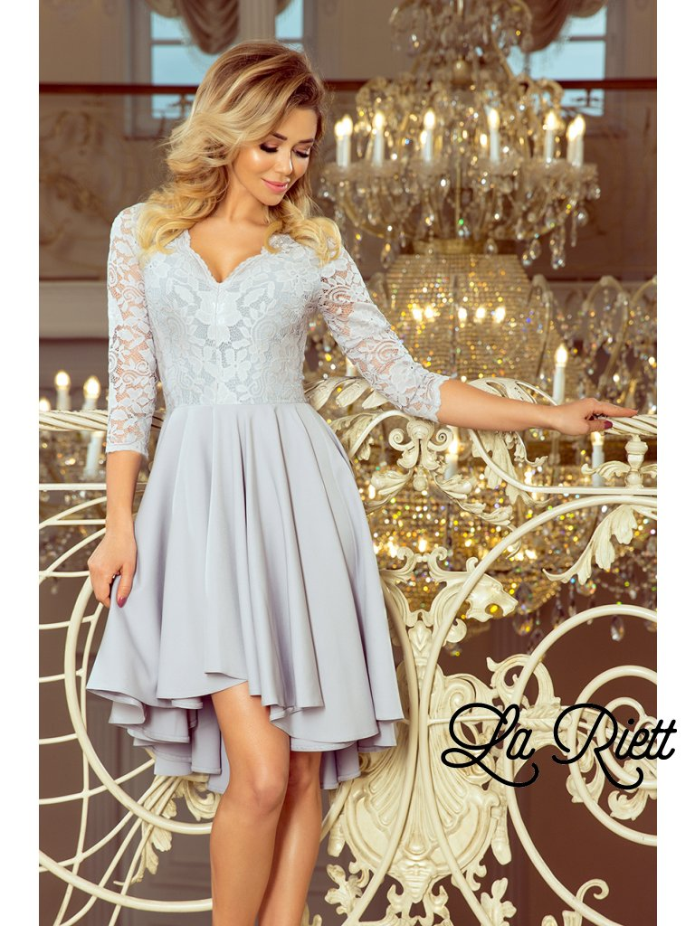 772d7bef49 Šaty s krajkovými rukávmi Grey 210-9 - www.sonya.sk