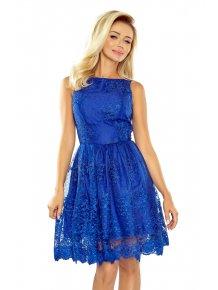 Dámske rozšírené šaty s vyšívaným materiálom v modrej farbe 173-1 b9958967882