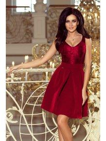Elegantné šaty s V-čkovým vystrihom Burgundy color 208-3 19d399fcd95